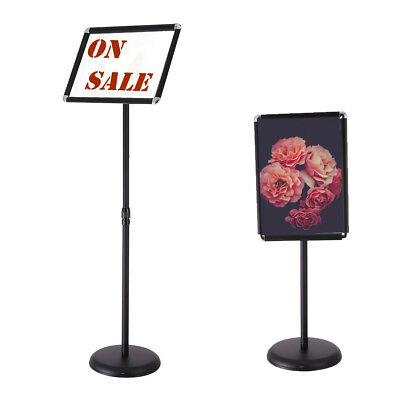 Black A3 Adjustable Pedestal Sign Holder Floor Stand Telescoping Post Poster