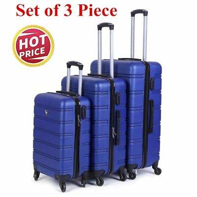 Set of 3 Travel Luggage ABS Spinner Wheel Trolley Suitcase Bag Hard Shell DE