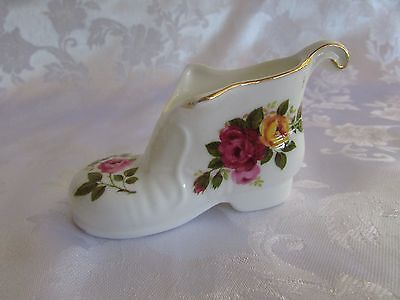 Cottage Rose fine bone china ornament miniature Old Boot 10cm long England