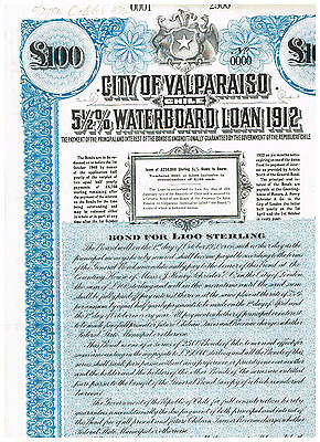 City of Valparaiso (Chile), 1912, LB 100 Loan, rare SPECIMEN