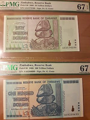 Zimbabwe 50 and 100 Trillion PMG 67