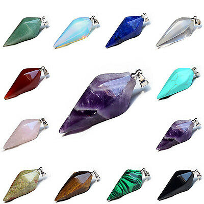 Wicca Gemstone Crystal Quartz Amethyst Opal Stone Pendant Fit Pendulum Necklace