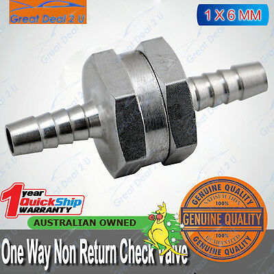 "Aluminium 6mm 1/4"" Non Return One Way Fuel Line Check Valve Petrol Diesel Gas"