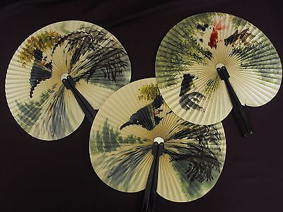 1960s Vintage Paper Folding Fans - three