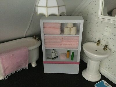 Dolls House  White Bathroom Shelf Unit Pink