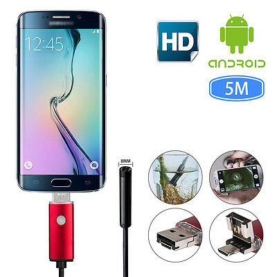 2in1 5m 8mm Lens Endoscope Waterproof Inspection Camera IP67 for Android PC UK