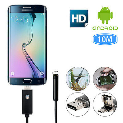 2in1 10m 8mm Lens Endoscope Waterproof Inspection Camera IP67 for Android PC UK