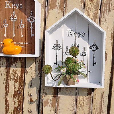 Vintage Wooden Key Box Home Wall Decoration Mount Storage Key Hanging Case Decor