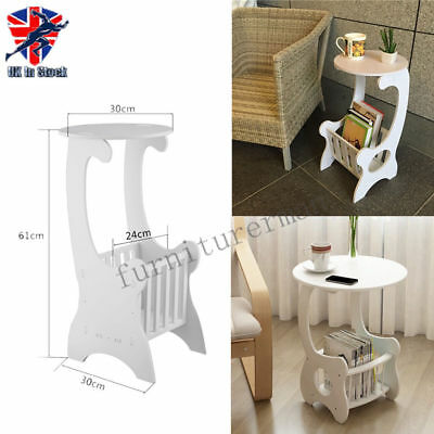 White Wooden Chic Side End Lamp Small Round Coffee Table Magzine Rack Bedroom UK