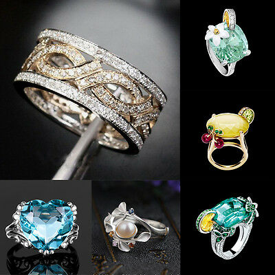 925 Silver Aquamarine Yellow Topaz Women Gold Filled Wedding Band Ring Size 6-10