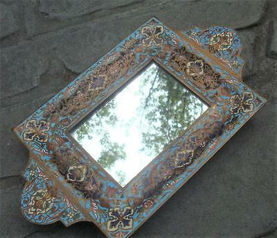 Vintage ENAMELED And METAL TRAY w/ GLASS INSERT Origin Unknown