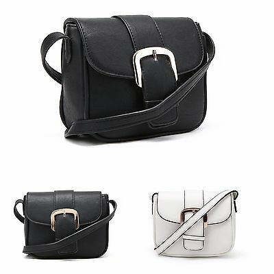 Ladies Buckle Cross body Bag Womens Messenger Faux Leather Shoulder Bag New