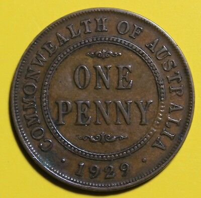1929 KGV PENNY - Circulated - Australian  Pre Decimal Coin - GREAT  INVESTMENT