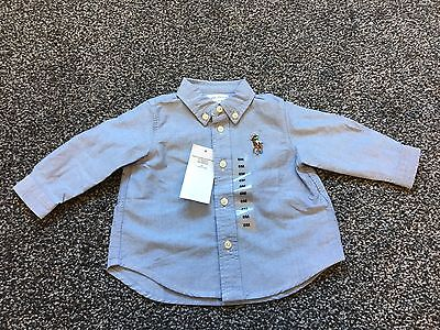 Baby Boy Ralph Lauren Blue Long Sleeve Shirt, 6 Months