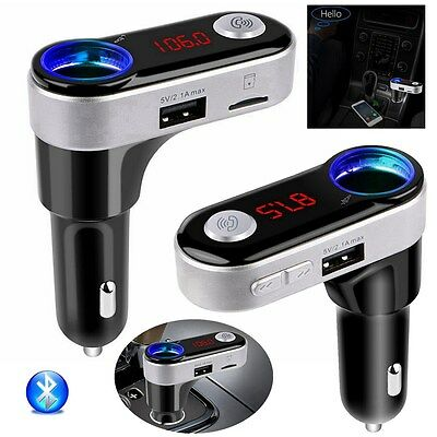 Wireless Bluetooth Car MP3 Player FM Transmitter Radio SD Dual USB Charger Kit
