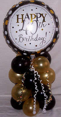 Age 40th Happy Birthday Foil Balloon Table Decoration Display Party Black & Gold
