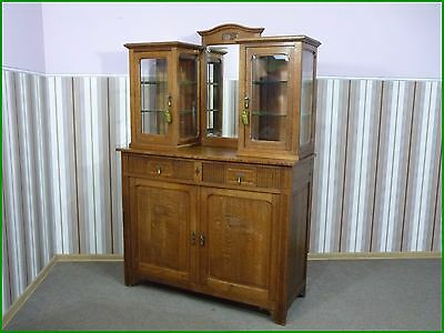 anrichte buffet jugendstil kommode mit aufsatz kredenz eiche massiv eur 800 00 picclick de. Black Bedroom Furniture Sets. Home Design Ideas