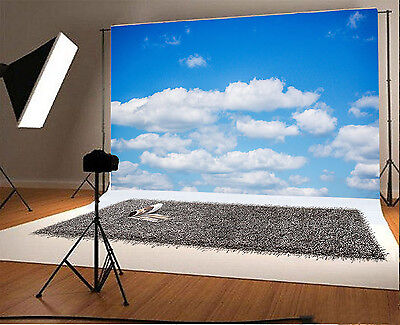 5x3FT Blue Sky And White Clouds Photography Background Backdrops Studio Props