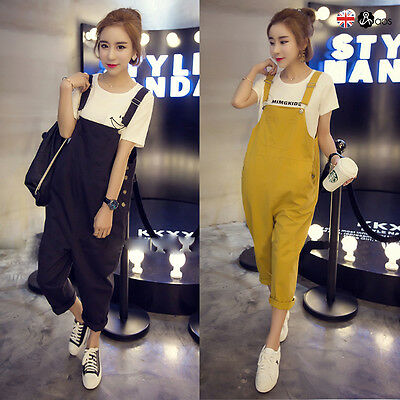 New UK Womens Loose Jumpsuit Strap Dungaree Harem Trousers Casual Overall Pants