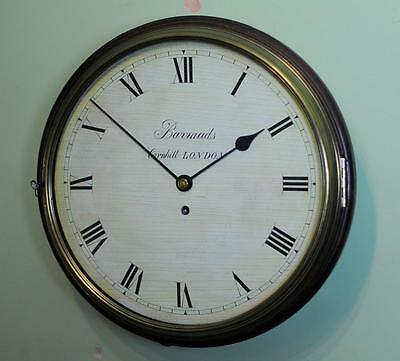 FINE WOODEN DIAL FUSEE WALL CLOCK - Barrauds , Cornhill ,London