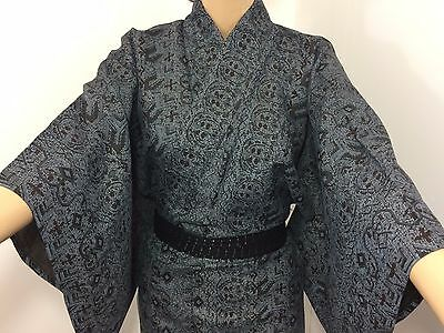 Authentic Japanese dark grey summer kimono for women, M, good condition (AB1638)