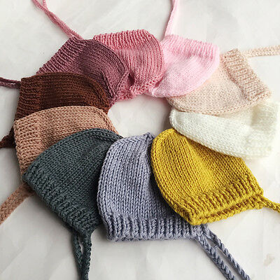 Cute Newborn Baby Girls Boys Crochet Knit Bonnet Costume Photo Prop Hat Outfits