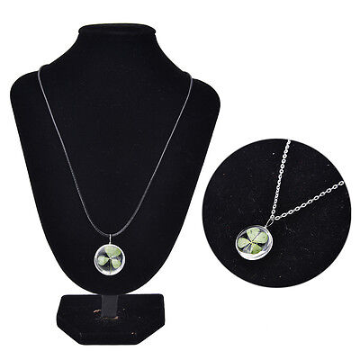 Real Green Lucky Shamrock Four Leaf Clover Round Pendant Necklace Friends GD