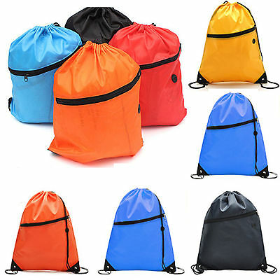 Draw String Zip Drawstring Bag Shoe Sports Swim Gym PE Dance School Backpack Bag
