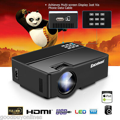 1080P HD LCD+LED 3000 LM PROYECTOR HDMI SD USB VGA TEATRO PARA iOS/ANDROID MÓVIL