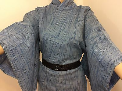 Authentic Japanese blue wool kimono for women, M, Japan import (AB1640)