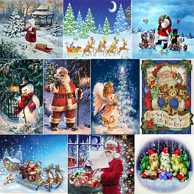 DIY 5D Diamond Embroidery Painting Cross Stitch Kits Christmas Snow Home Decor