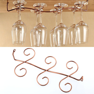 6 Wine Glass Rack Stemware Hanging Under Cabinet Holder Bar Kitchen Display