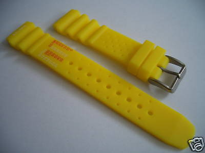 Rubber Watchband for Citizen Promaster, 20mm, yellow