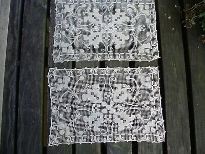 """Pair of Antique ~ Vintage Italian Handmade Lace Runners/Placemats  10"""" x 15"""""""