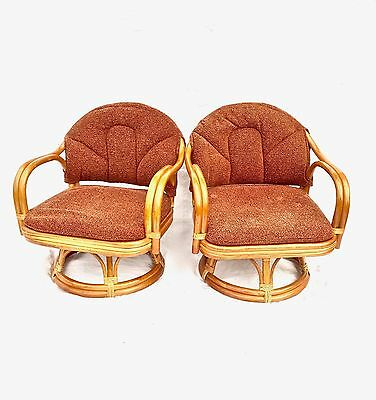 Awe Inspiring Vintage Childs Bamboo Rattan Swivel Chairs Set Of 2 Caraccident5 Cool Chair Designs And Ideas Caraccident5Info