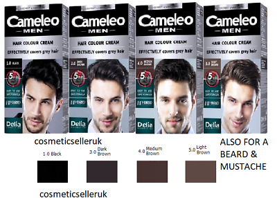 Cameleo COLOUR DYE CREAM Beard&Mustache Grey Hair Cover 5Min Effect By Delia
