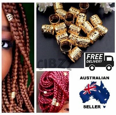 10x Dreadlock Hair Cuffs Clips Beads Style Rings Wrap Adjustable Gold Accessory