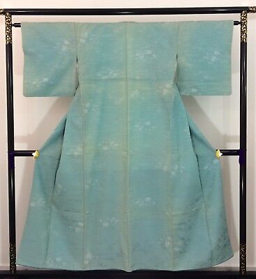 Authentic Japanese turquoise wool kimono for women, M, Japan import (AB1642)