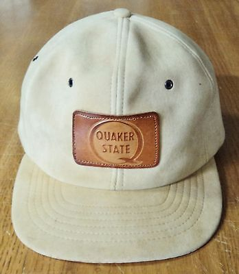 Leather Patch Quaker State Cap / Hat - Advertising - Tan Suede Leather Snap Back