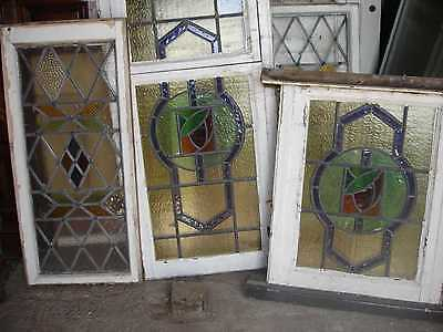 Vintage Stained Arts & Crafts Glass 3 Pieces