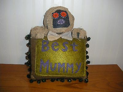 Halloween BEST MUMMY Pillow with Primitive Mummy Man Glitter Fringe 8 x 10