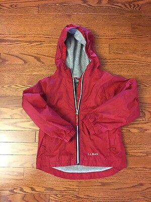 Boys LL Bean Red Fall~Winter Hooded Coat Jacket Size 6X-7 Fleece Lined