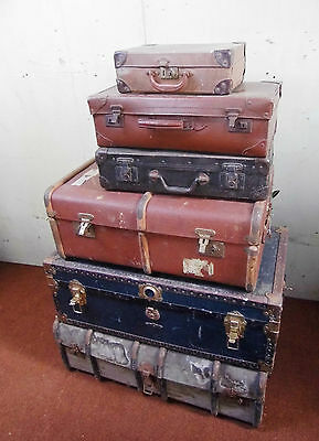 Vintage Travel Trunks Suitcases 6 Items