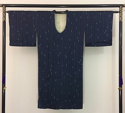 Authentic Japanese blue silk amagoto rain coat, imported from Japan (AB1643)
