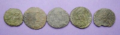 Five unresearched ancient Roman bronze coins 3rd-4th century AD