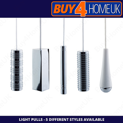 Cassellie Bathroom and Kitchen Light Pulls - White & Chrome - Cord Included