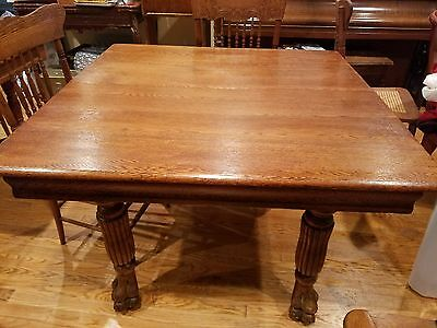 Gorgeous Antique Solid Oak Pawfoot  Dining Table c1900!