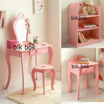 Girls / Children's Room Dressing Table, Bookcase, Bedside Cabinet Pink Wooden