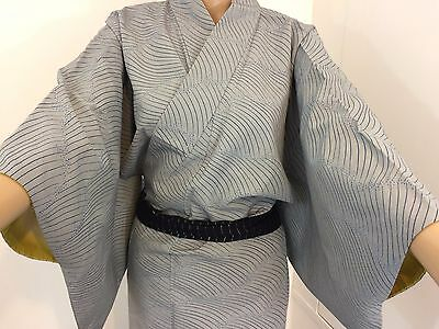 Authentic Japanese blue silk kimono for women, waves, M, Japan import (AB1644)