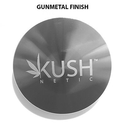 Tobacco Herb Spice Grinder 4 Piece Herbal Smoke Gun Metal   **Kushnetic**